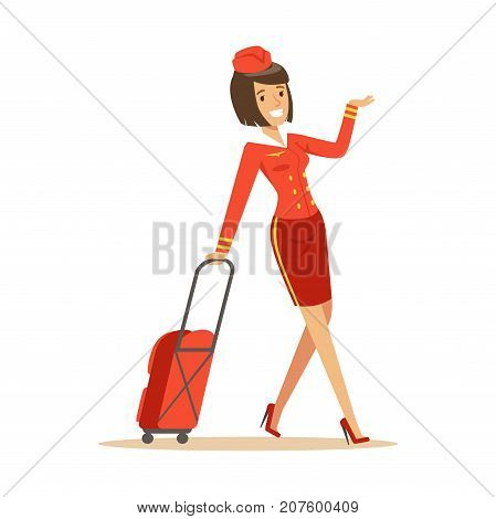 Pretty smiling stewardess carrying her luggage to airplane on isolated white background. Stylish flight attendant clothes. Flat vector illustration. Cartoon design character. Airline crew member.