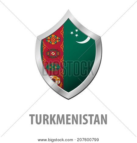 Turkmenistan Flag On Metal Shiny Shield Vector Illustration.
