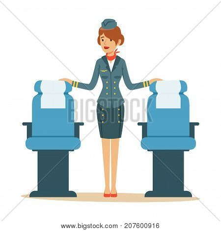 Beautiful flight attendant in uniform stands near passenger seats. Stylish stewardess clothes. Cartoon design character. Airline crew member. Flight attendant. Front view. Flat vector illustration.
