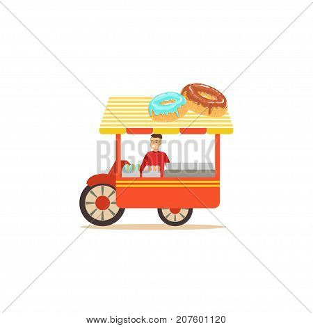 Detailed creative flat street food cart. Donuts outdoor cafe. Takeaway restaurant. Urban kiosk sell fast food, junk food. Smiling man seller, merchant, shopkeeper, vendor. Vector illustration isolated