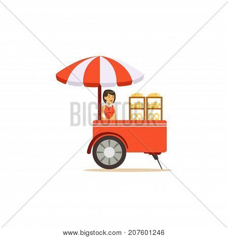 Flat street food cart with sun umbrella. Sweet buns, croissants outdoor cafe. Takeaway restaurant. Urban kiosk. Smiling girl seller, merchant, shopkeeper, vendor. Vector illustration isolated.