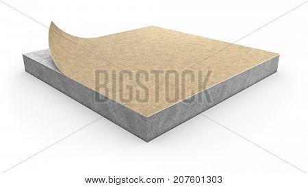 Linoleum floor cover installation concept on white background. 3D illustration.