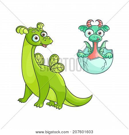 vector flat cartoon funny green adult, mature dragon with wings and small baby cute dragon hatching from egg. Fairy character set. Isolated illustration on a white background.