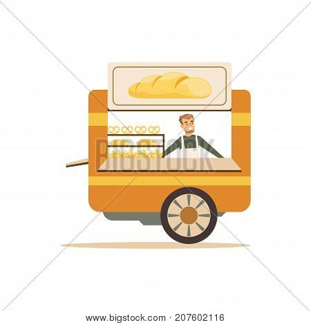 Flat street food cart. Sweet buns, croissants outdoor cafe truck. Takeaway restaurant. Urban kiosk trolley. Smiling man seller, merchant, shopkeeper, vendor. Vector illustration isolated on white.