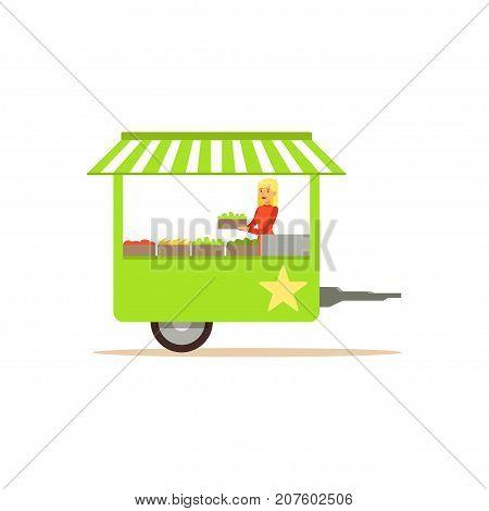Flat street food cart, green van fresh food. Outdoor cafe truck. Takeaway restaurant. Urban kiosk, market. Smiling girl seller, merchant, shopkeeper, vendor. Vector illustration isolated on white