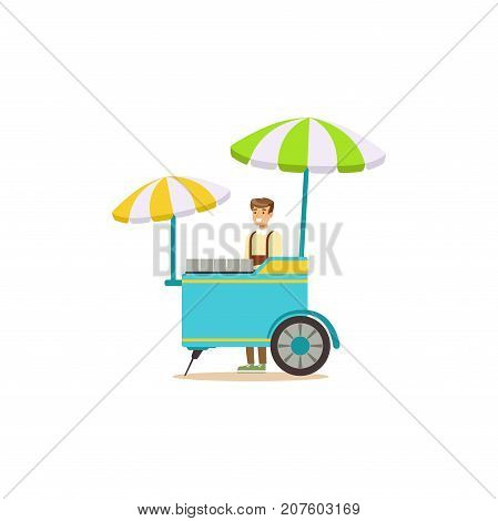 Detailed creative flat street food cart with sun umbrella. Outdoor cafe. Takeaway restaurant. Urban kiosk. Man seller, merchant, shopkeeper, vendor character. Vector illustration isolated on white.