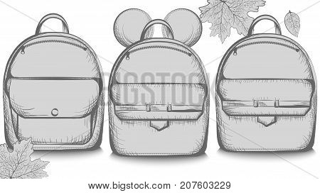 Schoolbags Set Collection Banner Vector Line Art. Graphic Style Satchels