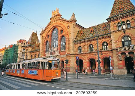 BUDAPEST - MAY 26: Old tram goes by the street of Budapest on May 26 2016.