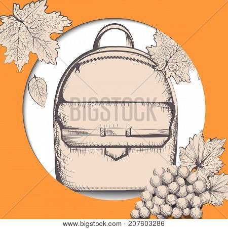 Schoolbag Vector Line Art. Back To School Autumn Card Backgrounds