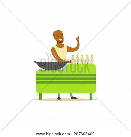 Detailed creative flat street food cart. Barbecue outdoor cafe. Takeaway restaurant. Green urban kiosk. Smiling man seller, merchant, shopkeeper, vendor. Smiling man character. Vector illustration.