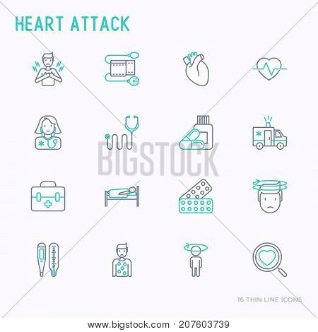 Heart attack thin line icons set of symptoms and treatments. Modern vector illustration for medical report or survey, banner, web page, print media.