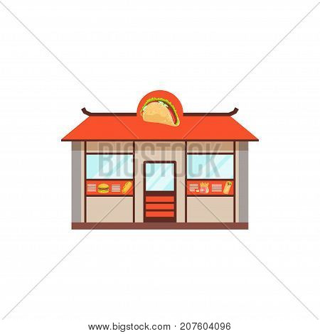 Flat street food shop building. Big outdoor cafe. Takeaway restaurant menu. Urban kiosk sell fast food, junk food, hamburger, gyros, French fries, sandwich. Vector illustration isolated on white.