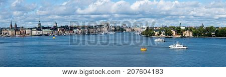 Panorama of harbor around Gamla Stan in Stockholm, Sweden. The town dates back to 13th Century.