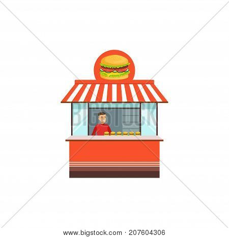Flat street food shop. Outdoor cafe with hamburger. Takeaway restaurant menu. Urban kiosk sell fast food, junk food. Smiling man seller, merchant, shopkeeper, vendor. Vector illustration isolated.
