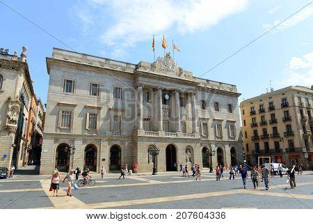 BARCELONA - JUN. 11, 2013: Barcelona City Hall (Casa de la Ciutat, Ajuntament) is located at Old Town (Ciutat Vella) of Barcelona, Catalonia, Spain.