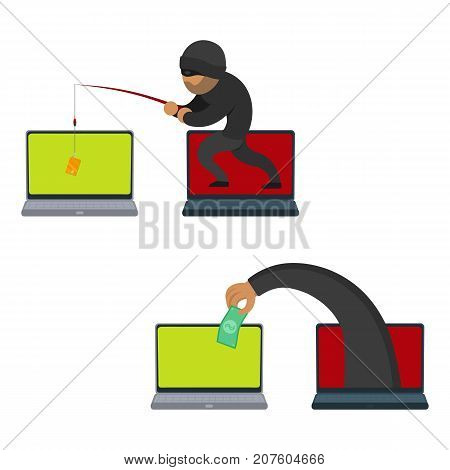 vector flat cartoon cyber theft, fraud concept set. Hacker stealing credit card from private laptop by fishing rod, hand stealing dollar from pc. Isolated illustration on a white background.
