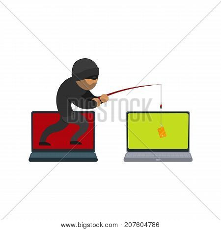 vector flat cartoon cyber theft, fraud concept. Hacker coming from distant computer stealing credit card data from private laptop by fishing rod. Isolated illustration on a white background.
