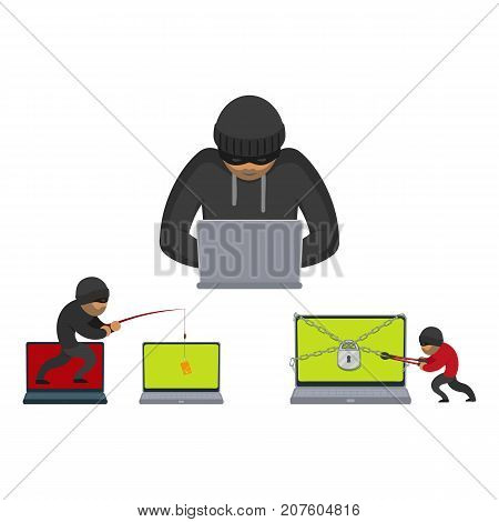 vector flat cyber theft set. Hacker stealing card from private laptop by fishing rod, Bandit cutting chain, lock which protects laptop with bolt cutter. Isolated illustration on white background.