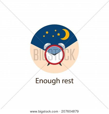 Enough Rest round flat style icon with alarm clock and night sky, sleeping well as wellbeing concept vector illustration isolated on white background. Enough Rest, round wellbeing, wellness icon