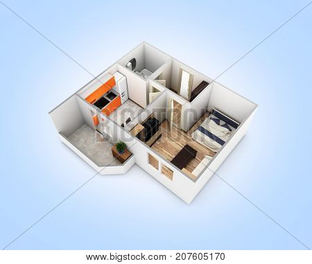 Interior Apartment Roofless Perspective View Apartment Layout On Blue Gradient Background 3D Render