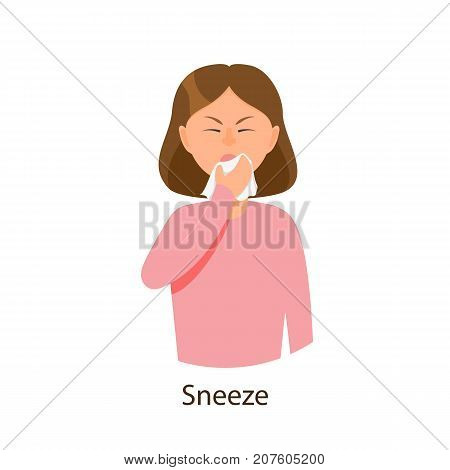 Vector young sick girl suffering from rhinitis, sneezing holding napkins, facial tissues. Flat isolated illustration on a white background. Illness and disease symptoms concept