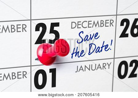 Wall Calendar With A Red Pin - December 25