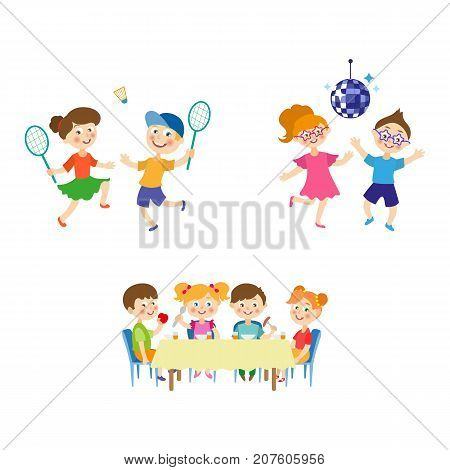 vector flat summer camp kids activity set. Girls and boys playing badminton, dancing at party under disco ball, eating porridge, fruits vegetables at table. Isolated illustration on a white background