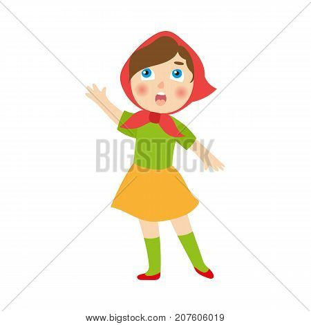 vector flat cartoon children at summer camp concept. Girl in ethnic national clothing singing or playing role at stage. Isolated illustration on a white background.