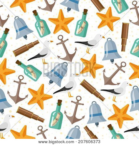 Seamless pattern of flat cartoon nautical elements - anchor, ship bell, seagull, telescope, starfish, vector illustration isolated on white background. Seamless pattern of flat style nautical objects