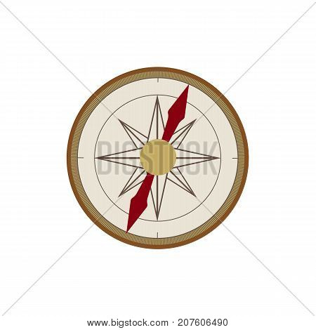 Hand compass, flat cartoon style vector illustration isolated on white background. Flat style cartoon vector illustration of vintage, retro compass, nautical equipment