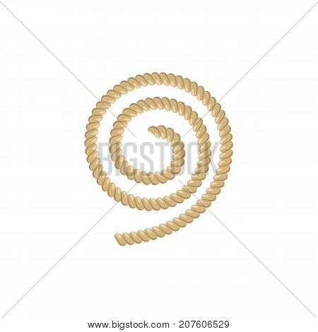 Spiral piece of ship rope, flat style cartoon vector illustration isolated on white background. Flat cartoon illustration of ship rope for anchoring, docking