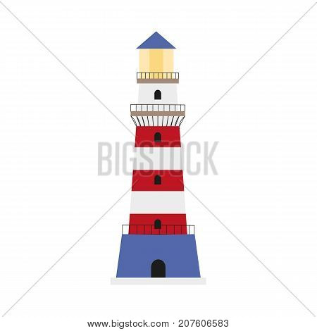 Colorful lighthouse icon, symbol, decoration element, flat style cartoon vector illustration isolated on white background. Flat cartoon illustration of marine lighthouse, red, blue and white