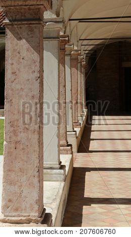 Long Colonnade Of A Cloister Iand The Shadows N The Ancient Conv