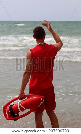 Lifeguard On The Shore Of The Sea In The Beach Of Tourist Resort