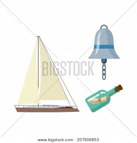 vecotr flat cartoon nautical, marine symbols set. Sailing yacht with big white sails, ship signal bell, message in sealed glass bottle with icons. Isolated illustration on a white background.