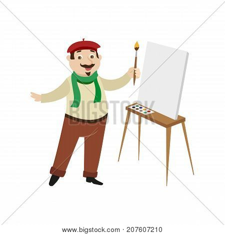 vector flat cartoon man artist painter wearing beret, scarf mustache drawing on easel canvas. French parisian style male portrait full length. Isolated illustration ona white background