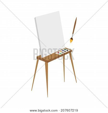 vector flat cartoon wooden easel with paints, empty canvas and painting brush. Isolated illustration on a white background. Drawing board with palette