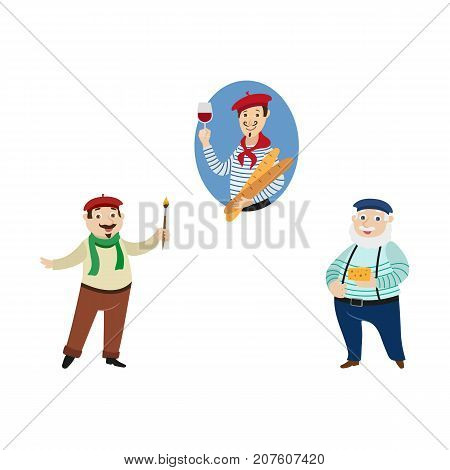 vector flat French parisian man with baguette and glass of wine, male character in pants on suspenders with cheese and painter arstist with brush set Isolated illustration ona white background
