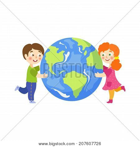 Vector save the planet concept. Flat cartoon happy girl and boy smiling children hugging earth globe planet. Isolated illustration on a white background.