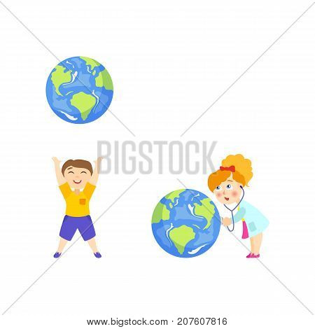 Boy throwing big globe up, girl in doctor coat listening to Earth planet heart, cartoon vector illustration isolated on white background. Girl in white coat treating Earth, boy throwing it like a ball
