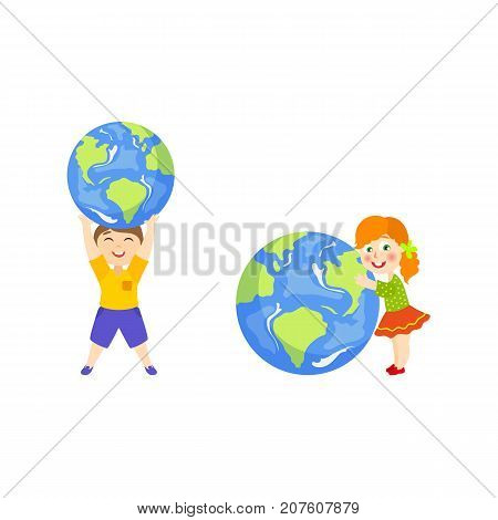 Kid, boy holding Globe, Earth planet symbol over head, girl hugging it lovingly, cartoon vector illustration isolated on white background. Boy, kids and big globe, Save the Earth concept
