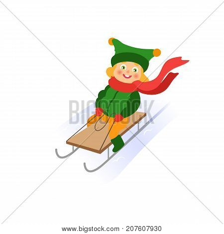 vector girl having fun enjoying sleigh ride. Flat cartoon isolated illustration. Kid sledding, ride a sledge outdoors. Winter children activity concept