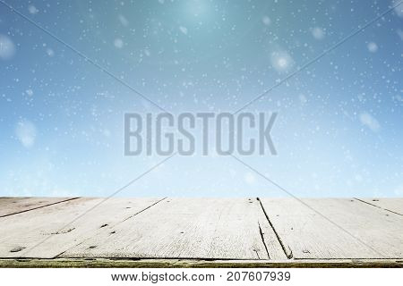 Wooden Table For Present Product On Bokeh Background.