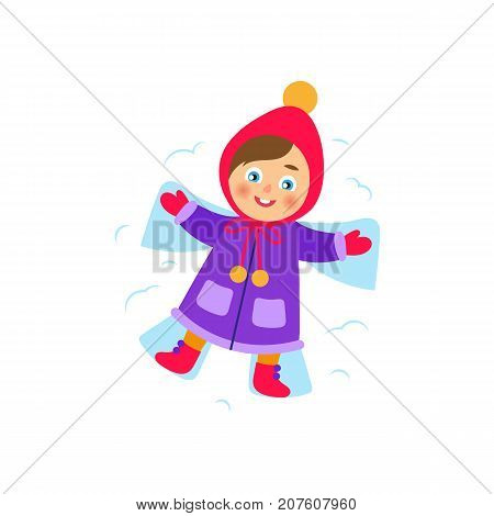 vector girl lying in the snow making snow angel. Flat cartoon isolated illustration on a white background. Kid having fun with snow outdoors. Winter children activity concept