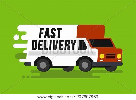 Fast shipping delivery truck in flat style. Vector illustartion