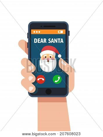 Smart phone in hand. Santa claus calls. Vector flat Design style