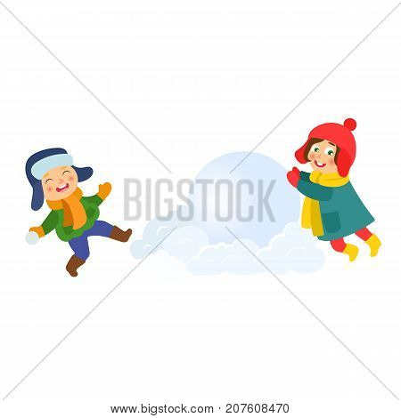 Kids, children making snowballs for huge snowman, winter activities, cartoon vector illustration isolated on white background. Kids, children enjoying winter, making snowman together