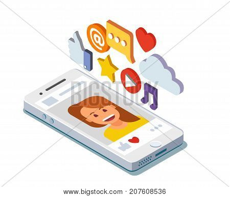 Social media profile page isometric. Flat vector illustration