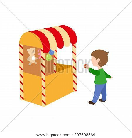 vector flat children in amusement park concept. Boy having fun in shooting gallery tent from funfair carnival image. Isolated illustration on a white background.