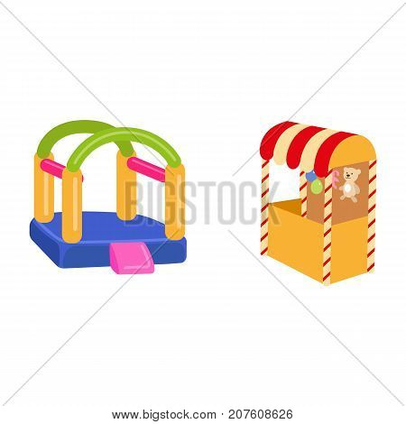 vector flat amusement park objects icon set. Shooting gallery with bear, rabbit toys - awards, inflatable bouncy playground castle. Isolated illustration on a white background.